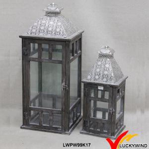 Square Glass Panels Plated Silver Top Wooden Candle Holder Set pictures & photos