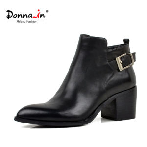Casual Lady Leather Pointed Toe Buckle-Strap High Heels Women Shoes