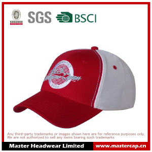 6 Panel Red/White Stretch Cap with Embroidery for Adults