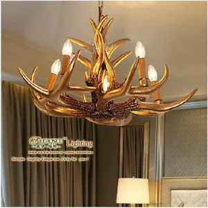 Deer Horn Design Candle Holder Lamp Gold Hanging Lamp Md80370