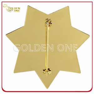 Custom Star Shape Gold Plated Military Badge with Safety Pin pictures & photos