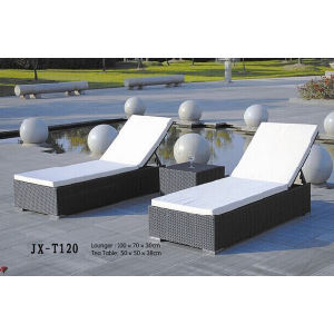 Rattan Furniture Outdoor Beach Garden Sun Lounge with Mini Table