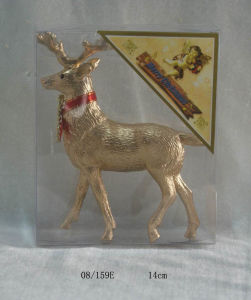 Golden Matte Christmas Deer Hanging Decoration