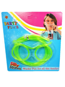 Funny Glasses Straws Food Grade PVC Party Promotional Straw with Blister Packing