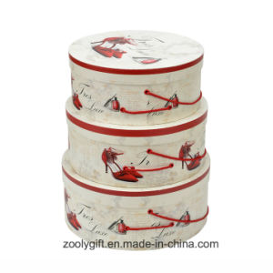 Customized Printing Paper Round Hat Gift Storage Boxes with Rope Handle pictures & photos