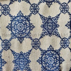 45%Polyester 55%Linen Upholstery Fabric Jacquard Yarn Dyed for Sofa Curtain Decoration