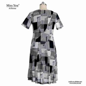 Miss You Ailinna 305538 Black Block Pattern V-Neck Women Dress pictures & photos