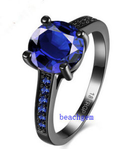 Black Plated Blue Glass Jewelry Rings (R0842)