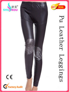 Fashion Lady Sexy PU Leather Leopard Print Leggings Women Pants Fabric Clothing Pantyhose Tights (SR-2006)