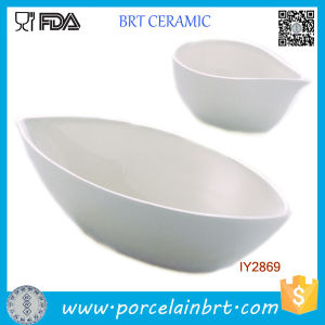 Set of 2 Mini Boat Shaped Salad Bowl White Ceramic pictures & photos