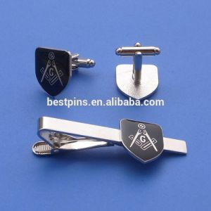 Metal Tie Bar Masonic Tie Clip and Cuff Link in Velvet Box pictures & photos