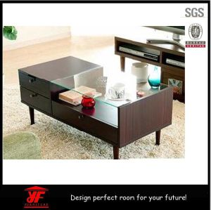 China Modern Furniture Design Wooden Coffee Tea Table With Glass Top