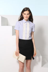 Custom Fashion New Design Women′s Short Sleeve Formal Shirt--Md1a8133 pictures & photos