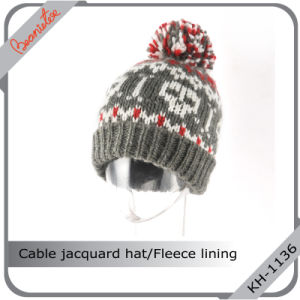 China High Definition Cable Jacquard Knitted Beanie Hat with POM POM -  China Hat 37abf31d2ee