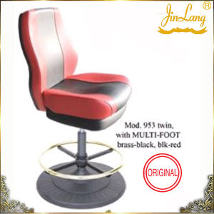 Bar Chair Mod. 953 Twin, with Multifoot Brass Blk, Blk-Red