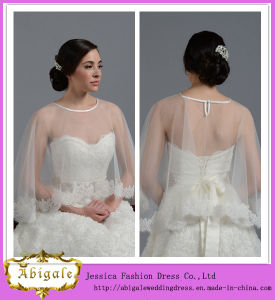 New Design Hotsale High Quality Tulle Lace Appliques off-The-Shoulder Short Sexy Wedding Jacket Yj0145