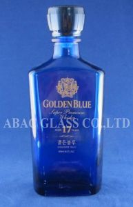 Blue Glass Whisky Bottle