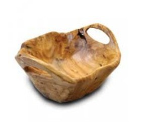 Handly Carved Natural Color #2225h Wooden Fir Two Handles Bowl