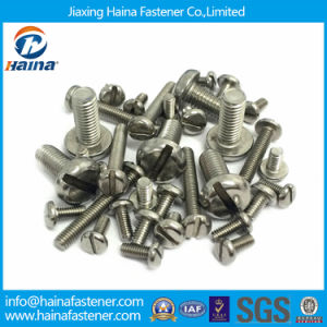 Pan Head Yellow Zinc Plated DIN85 Slotted Machine Screws pictures & photos