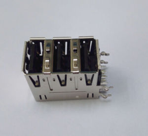 USB 2.0 a Female Connector Triple Stacked, Right Angle with EMI pictures & photos