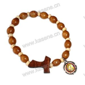 Elastic Wood Beads T Cross with Metal Medal Rosary Bracelet