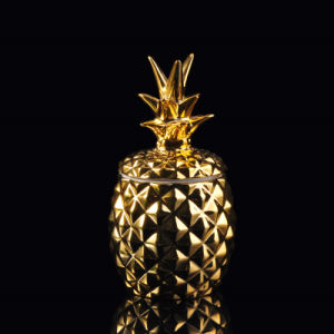 Golden Electroplating Pineapple Shaped Ceramic Candle Holder with Lid pictures & photos
