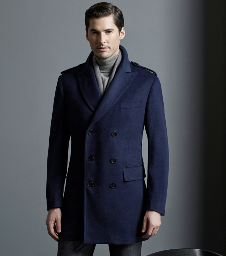 Top-Quality Double-Breasted Men′s Navy Wool Slim Leisure Winter Coat pictures & photos