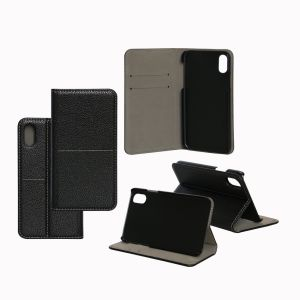 Black Embossed PU Leather Mobile Phone Book Wallet Case