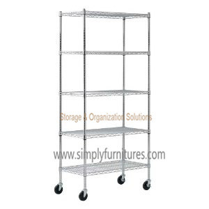 "21"" Mobile Heavy Duty Wire Shelving with 5-Layer pictures & photos"
