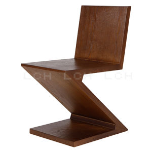 Replica Leisure Wooden Dining Chair Black Walnut Zig Zag Chair