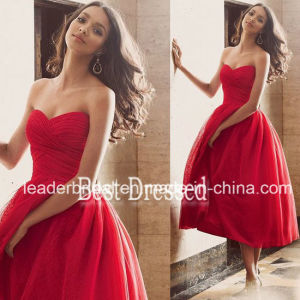 Strapless Lace Party Cocktail Homecoming Gown Red Bridesmaid Evening Dresses Z7041 pictures & photos