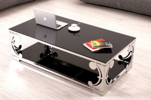 Carved Stainless Steel Black Glass Coffee Table Set (CCT-017)