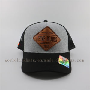 96b052a8a6d China Custom Jersey Mesh Trucker Cap Hat with Leather Patches ...
