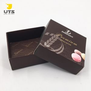 Customized Small Square Brown Gift Box For Chocolate Candy Macaron With Pattern Print