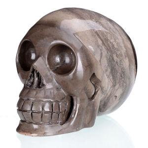 Natural Unnamed Jasper Carved Human Skull Carving #1V31, Crystal Healing