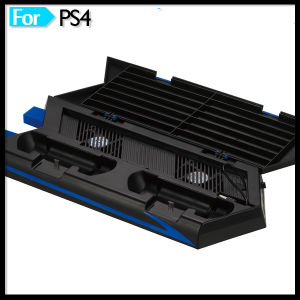 Vertical Cooling Fan Stand for PS4 Console with Controller Charger Discs Shelf