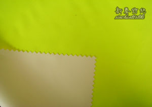 Polyester Oxford 300d with Lime Dyed and Breathable Milky Coating