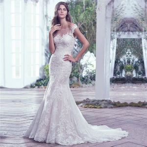 China Mermaid Wedding Dress Scalloped Lace Appliques Beaded