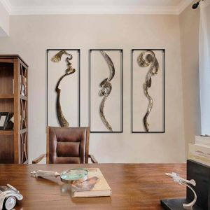 Handmade Abstract Asian Metal Wall Art Decor Chinese Calligraphy Art