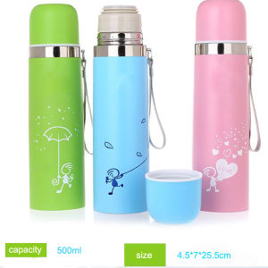 Colorful Stainless Steel Vacuum Flask with Heat Transfer Printing pictures & photos