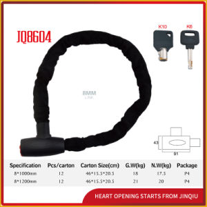 Jq8604 Black Color Bicycle Lock Motorcycle Chain Lock for Mountain Bike with Keys pictures & photos