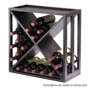 High End Stained Wood Display Stand for Wine Storage Rack