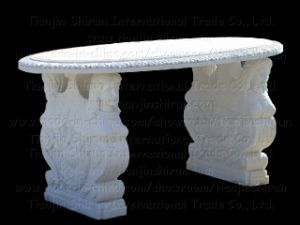 White Marble Table Top and Table Leg (23782)