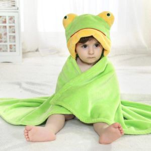Unisex Baby Blanket Flannel Animals Hoodie Cloak Bathrobe Robe Swaddling, Frog