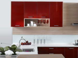 New Design Red Colour Uv Kitchen Furniture Zx 059