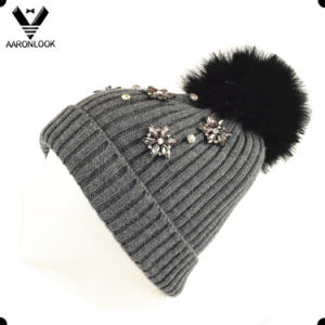Acrylic Knitted Top Fur Ball Custom Beanie with Flash Sequins