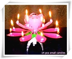 Music Candles Art Rotate Lotus Shaped14PCS Petals Rotating