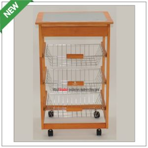 (SM-CC-021) New Design Wooden Kitchen Trolley with Wheels