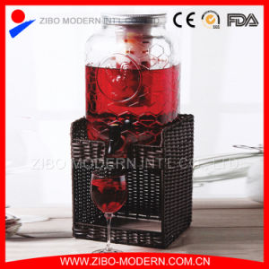 Wholesale Glass Dispensers with Wicker Surface pictures & photos