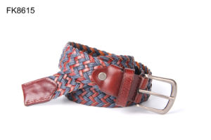 Leather Bonded Polyester Fabric Braided Belt for Women Fashion Accessory